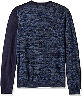 Calvin Klein Men's Merino Parallel and Color Blocked Crew Neck Sweater