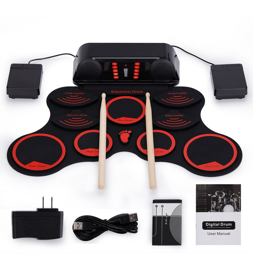 Roll-Up Drum Kit Portable Electronic Drum Set with Rechargeable Battery Foot Pedals Drumsticks Built in Loud Speakers Christmas Present by EVERYONE GAIN