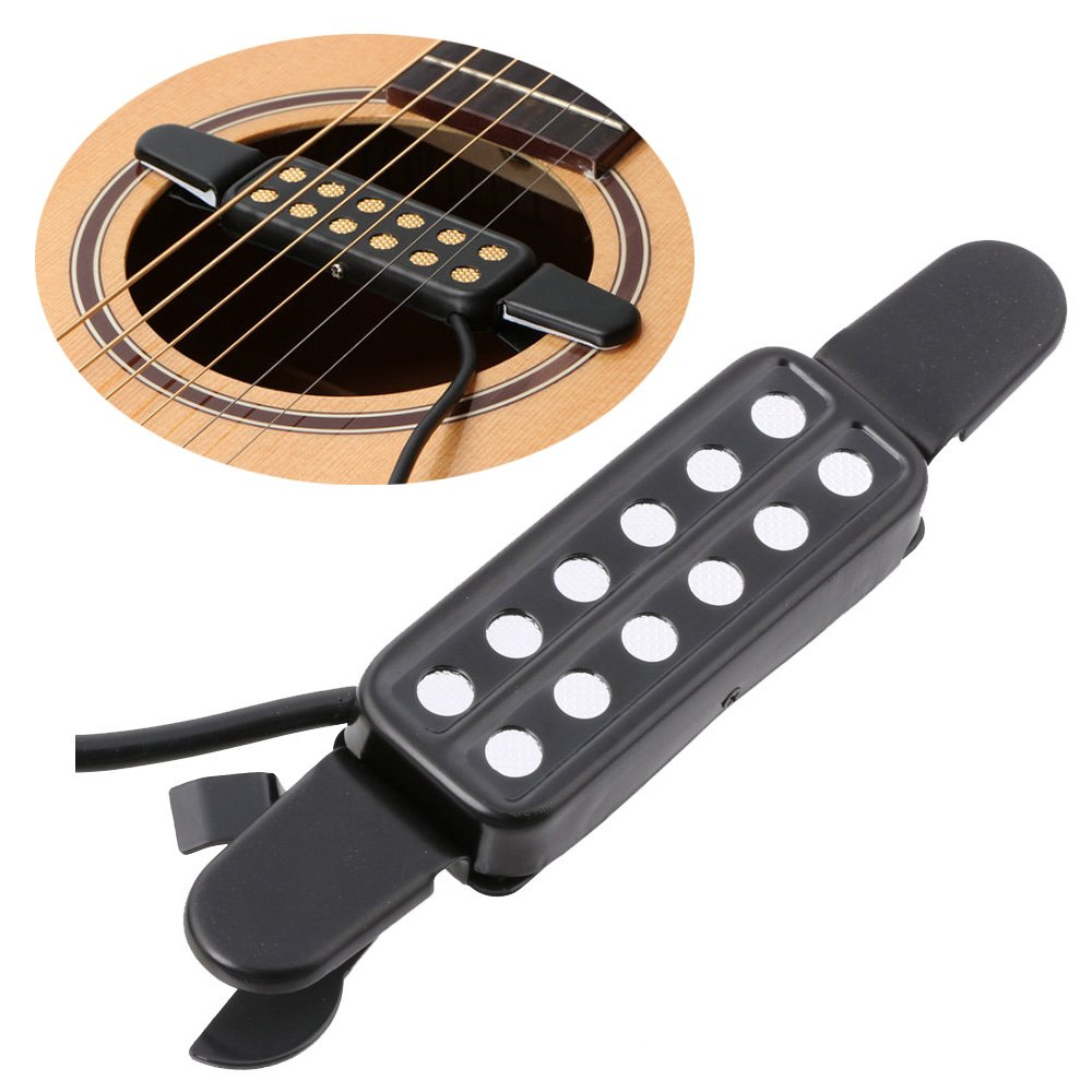LYWS Acoustic Guitar Pickup Sound Hole Pickup Electric Transducer Silver