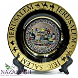 Jerusalem Display Ceramic Décor Plate Wall Hanging With Stand Holy Land 6