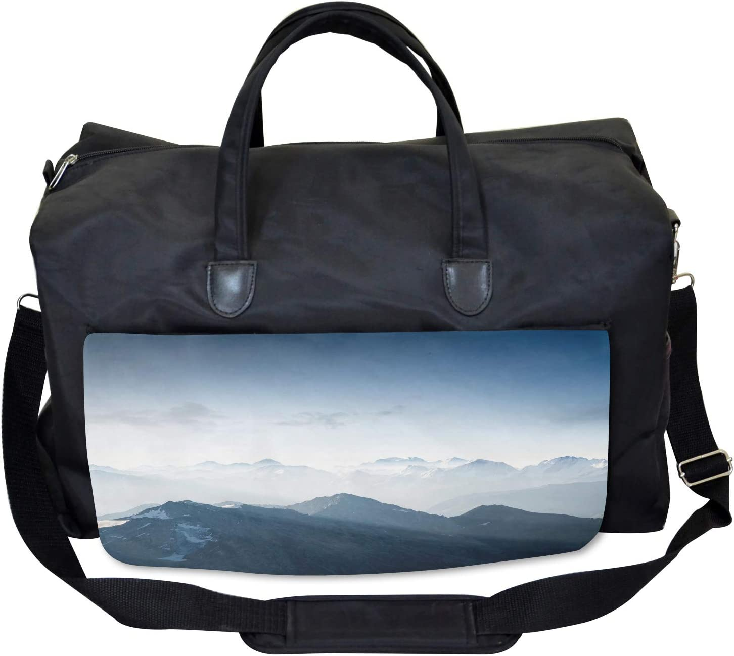 Ambesonne Nature Gym Bag Foggy Morning Mountain Large Weekender Carry-on