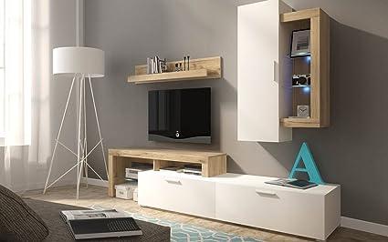 Moderno mueble de salón comedor Hero COMPACTO en color roble ...