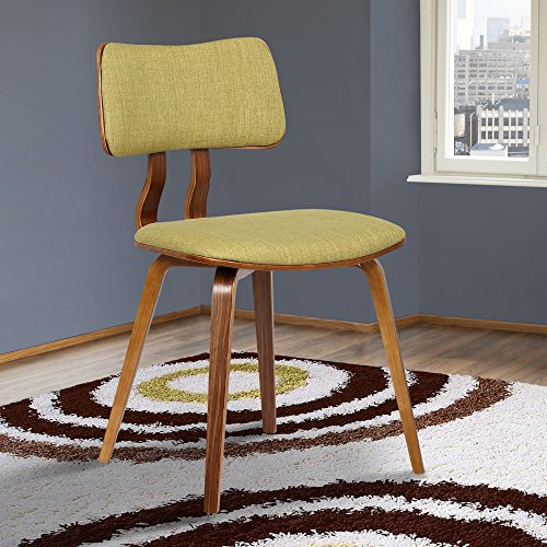 Armen Living Jaguar Mid-Century Dining Chair, Green/Walnut F