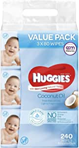 Huggies Baby Wipes Lightly Fragranced Coconut Oil Value Bundle Pack (3X80 PK)