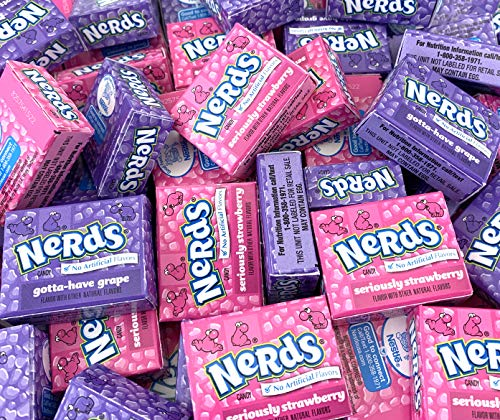 LaetaFood Bag - Nerds Wonka Candy Mini Boxes Strawberry and Grape Flavor, Fun Size (Pack Of 2 Pound)