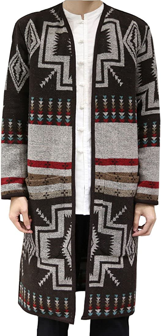 HZCX FASHION Houston Mall Men's Wool Open Cardigan 70% OFF Outlet Long Front Fashion Trench