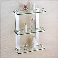 @W&YAN* 3-Tier Bathroom Shelves, Shower Caddy Bath Basket Storage Shelf, Thick Tempered Glass Aluminum Wall Mounted…