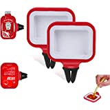 Dip Clip, In-Car Sauce Cup Holder Set for Vents of Vehicle, for Ketchup and Dipping Sauces (2 Pack, Red)