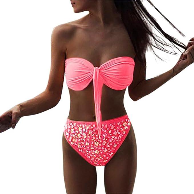 Traje De Baño De Mujer,RETUROM Bañadores Bikinis Bikini Correa del Pecho se Puede Quitar
