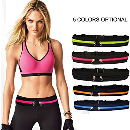 c9ae4911f324 Amazon.com : BMHFF Running Belt Waist Pack Fanny Pack with 2 ...