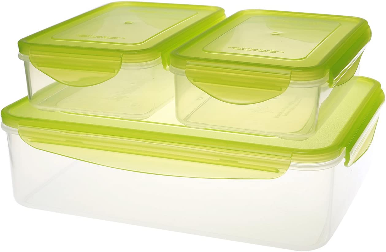 Kinetic 49131 6-Piece Fresh Series Food Storage Container Set with Green Lids