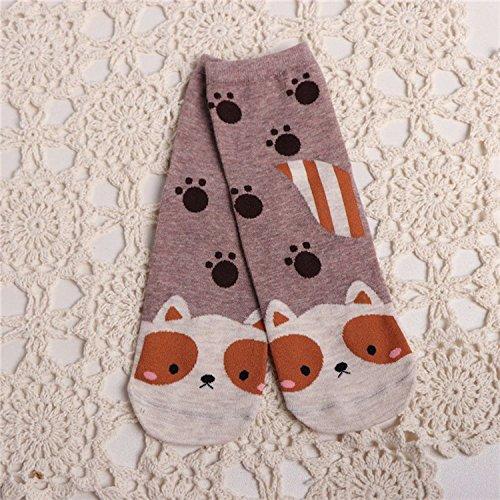 5 Pair//Lot Womens and Girls Mid Tube Cotton Socks Straight Socks Cute Cartoon Animal Pattern Ankle Socks