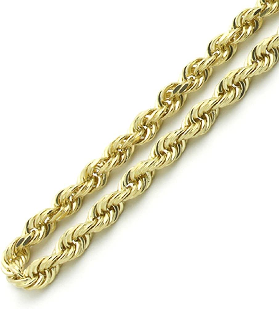 "Pori Jewelers 14K Yellow Gold 2.5MM-4MM Diamond Cut Rope Chain Necklace Unisex Sizes 16""-26"""