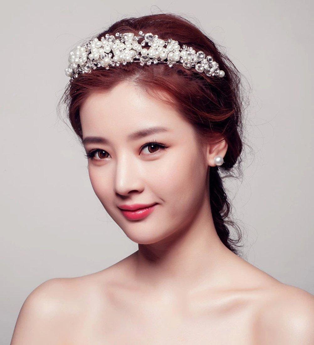 Amazon Ulike2 Pearl Crystal Bridal Tiara White Crown Wedding