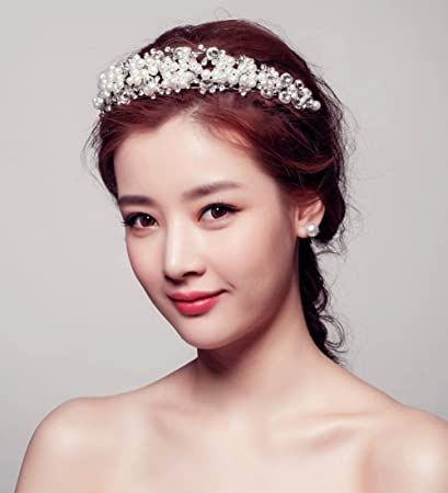 Amazon Com Ulike2 Pearl Crystal Bridal Tiara White Crown Wedding