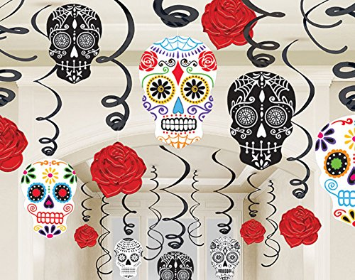 Grasslands Road 30-Piece Day of The Dead Black and Bone Foil Swirls Value Pack Kit]()