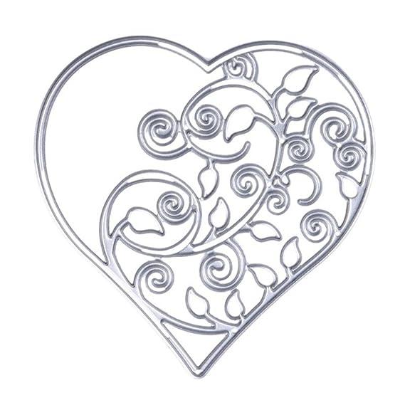 zmigrapdn plantillas de corte, metal hueco corazón Vine plantillas para hacer tarjetas, corte troquelado metal plantilla molde para DIY Scrapbook álbum de ...