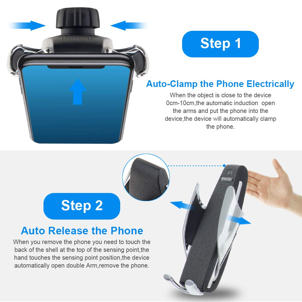 Windshield Dashboard Air Vent Phone Holder Compatible with iPhone Xs Max XR 8 JeeYu Wireless Car Charger Mount Automatic Clamping Qi 10W 7.5W Fast Charging /& 5W Car Mount Samsung S10 S9 S8 Note 9
