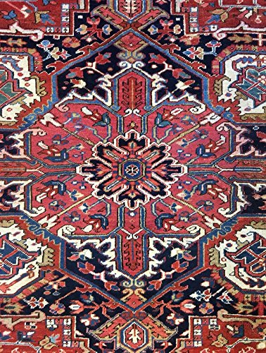 (Handsome Heriz 1930s Antique Persian Rug Tribal Oriental Carpet 10 x 12.8ft)