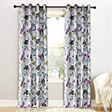 KoTing Blue/Purple Flower Curtain for Bedroom Colorful Leaf Blackout Insulate Thermal Drapes Grommet 72W by 84L Inch