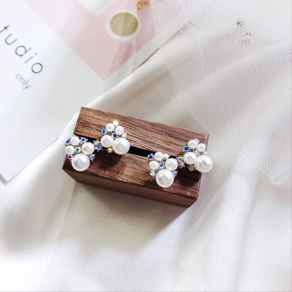 Aguja de plata exquisitos pendientes japoneses lindo imitación perla arco Rhinestone Stud pendientes para mujer mujer accesorios joyería