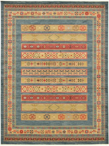16ft Persian Rug - Land of Gabbeh Rugs Modern Contemporary Persian Design Blue 12' x 16' FT Area Rug - Perfect for any Home Décor - Living Room/Dinning Room/Play Room/Bedroom/Kids Room
