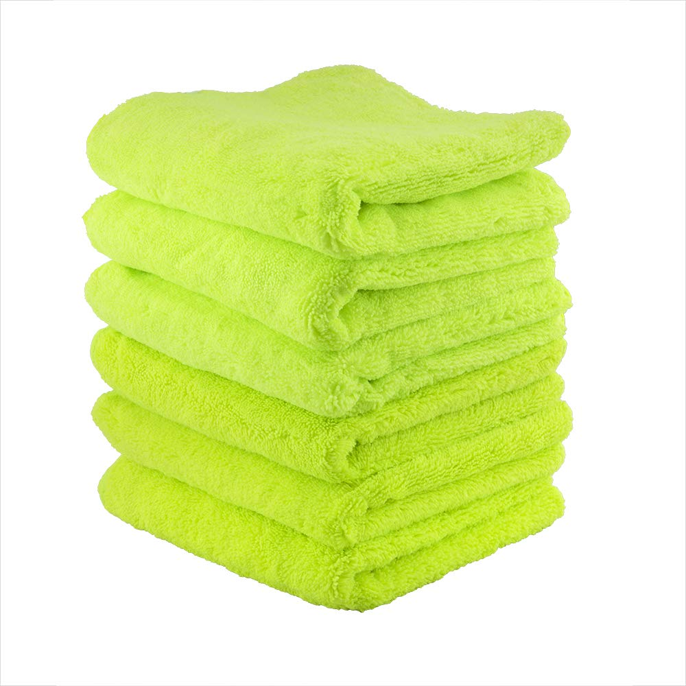 """Chemical Guys MIC_333_6G El Gordo Professional Extra Thick Supra Microfiber Towels, Green, 16.5"""" x 16.5"""", Pack of 6"""