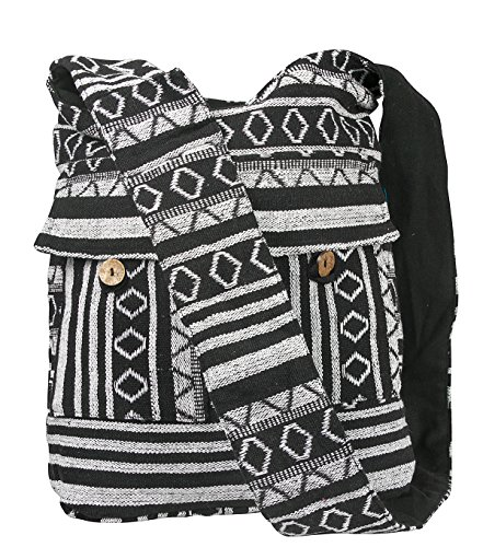 Tribe Azure Fair Trade Women's Shoulder Bag Woven Handmade Cross-Body Hobo Sling Casual, Large, Black/White - Jacquard Hobo Style Bag