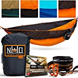Double-size camping hammock. Made from high quality ripstop parachute nylon material. Includes ultralight wiregate carabiners and adjustable heavy duty hammock straps.