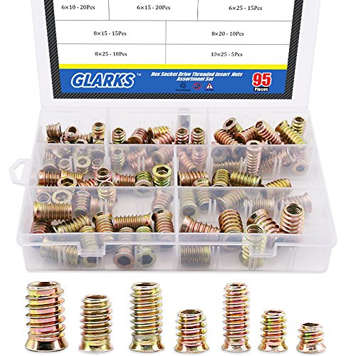 - Glarks 95Pcs Zinc Alloy Hex Flanged Screw-in Nut Hex Socket Drive Threaded Insert Nuts Assortment Set For Wood Furniture