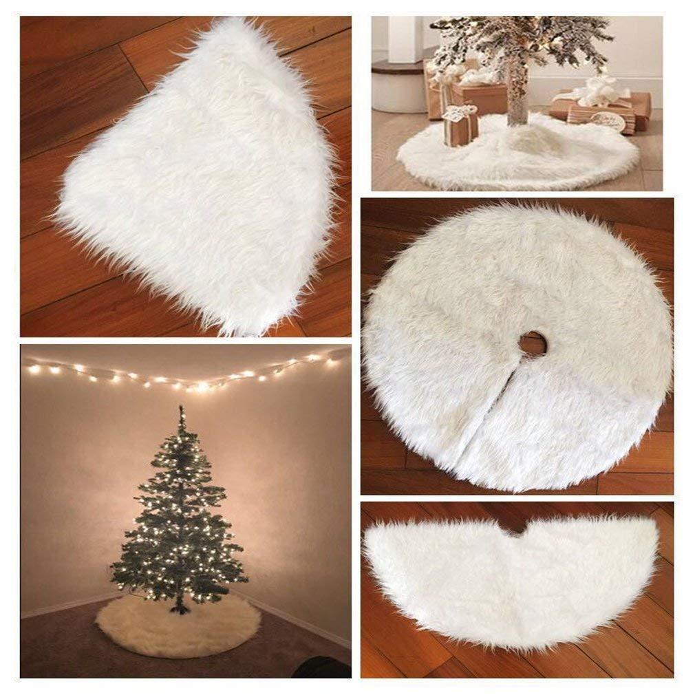 ASnmiier Deco Round Felt Tree Topping White Christmas Tree Grembiuli Bianchi Snow Christmas Tema Ornament
