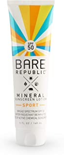 product image for Bare Republic Mineral SPF 50 Sport Sunscreen Lotion. Natural Vanilla Coconut Scented Long-Lasting and 80 Minute Water-Resistance Sunscreen, 5 Ounces