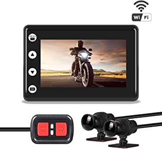 VSYSTO Motorcycle Camera, Waterproof Sport Dual Cameras, HD 170° Super Wide-Angle Lens, Dual 1080P, WiFi Support, with Metal Bracket, IMX323 Chip, 2.0 Inch Screen