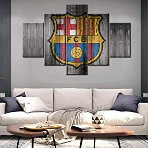"Large 5 Piece Black White and Red Canvas Wall Art Barcelona Football Club Poster Artwork Prints Vintage Coat of Arms Modern Home Decor Stretched and Framed Ready to Hang for Living Room - 60""W x 40""H"