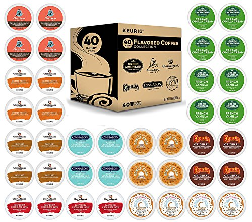 K-Cup Flavored Variety Sampler, Keurig Single-Serve Coffee, 40 Count