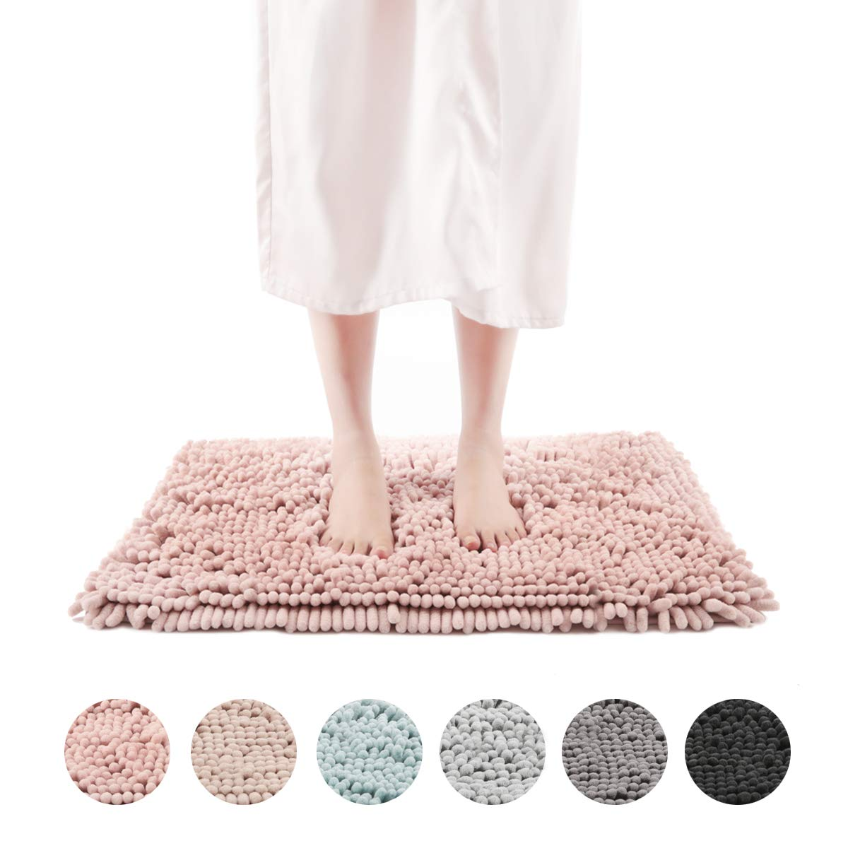 Freshmint Chenille Bath Rugs Extra Soft and Absorbent Microfiber Shag Rug, Non-Slip Runner Carpet for Tub Bathroom Shower Mat, Machine-Washable Durable Thick Area Rugs (16.5'' x 24'', Pink)