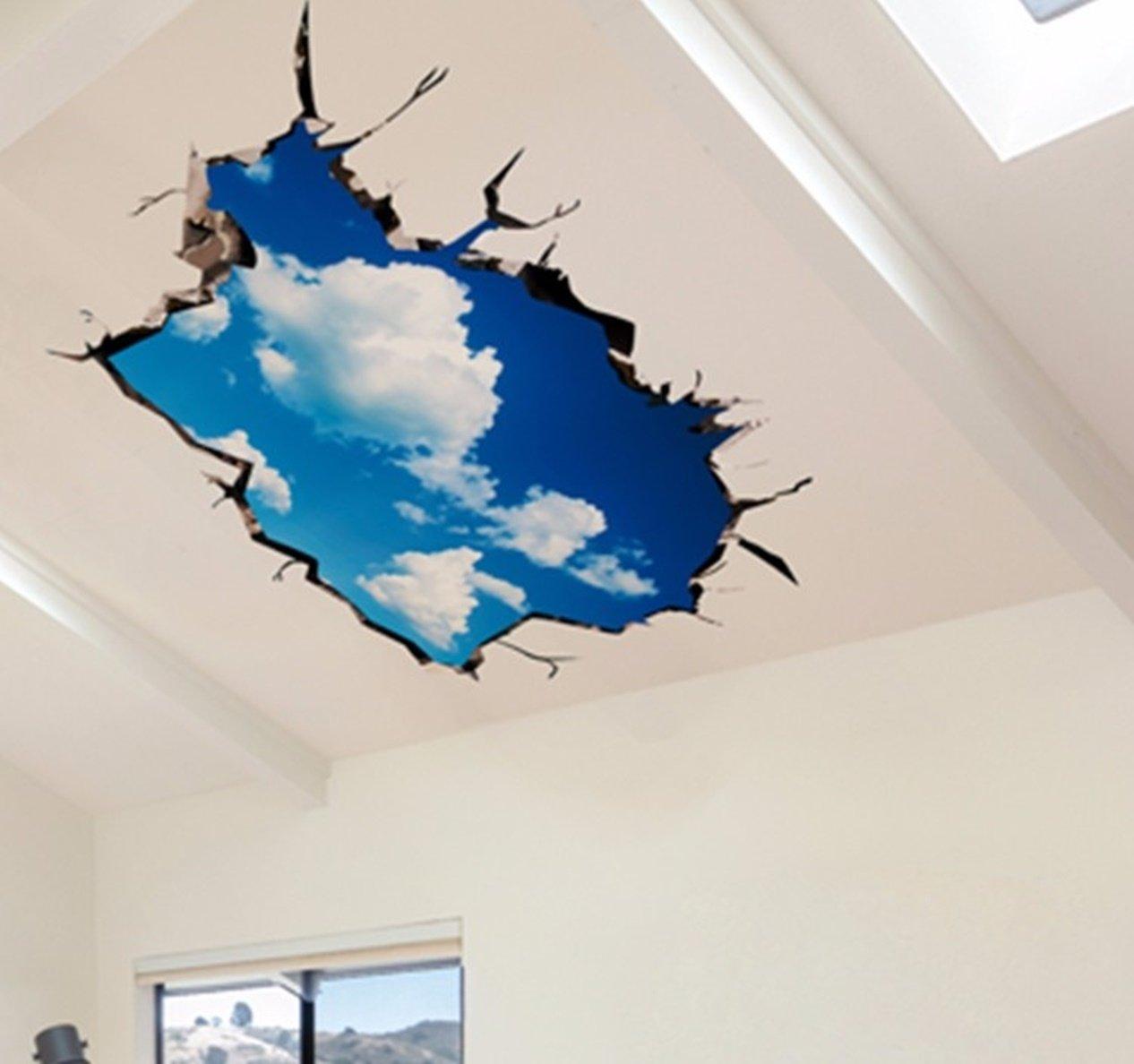 1 pack 3d sky clouds ceiling wall stickers decals living room bedroom kids nursery perfect popular dream butterfly world moon star ocean sun flower vinyl
