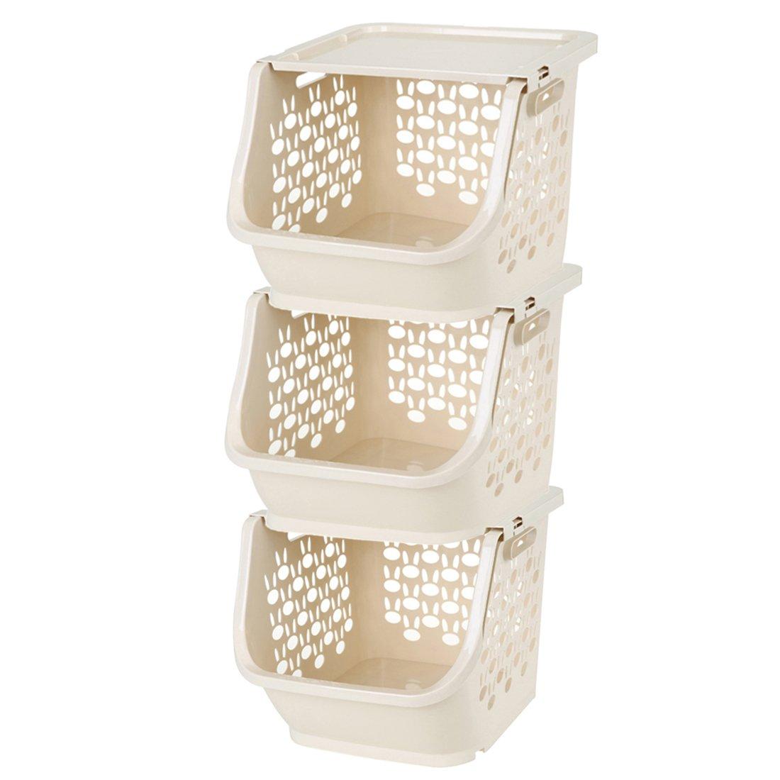 Tosbess 3 pezzi Carrello da Cucina Carrello Scaffale Multiuso per Organizzare gli Ambienti Domestici - Ideale per Bagno, Cucina, Camerette e Garage