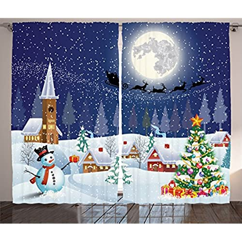 ambesonne christmas curtains winter season snowman xmas tree santa sleigh moon present boxes snow and stars living room bedroom window drapes 2 panel set