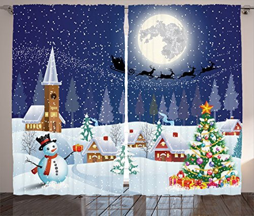 (Ambesonne Christmas Curtains, Winter Season Snowman Xmas Tree Santa Sleigh Moon Present Boxes Snow and Stars, Living Room Bedroom Window Drapes 2 Panel Set, 108 W X 84 L Inches, Blue White)
