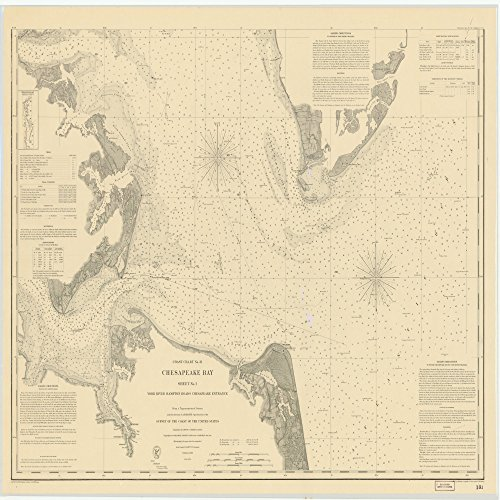 18 x 24 Canvas 1863 Virginia Old Nautical map Drawing Chart Chesapeake Bay. York River Hampton Roads Chesapeake Entrance. Sheet NO.1 from US Coast & Geodetic Survey x9606