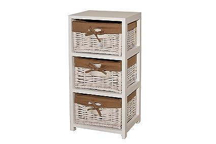 Borras Hnos - Mueble 3 cajones mimbre color blanco. (Color: blanco ...