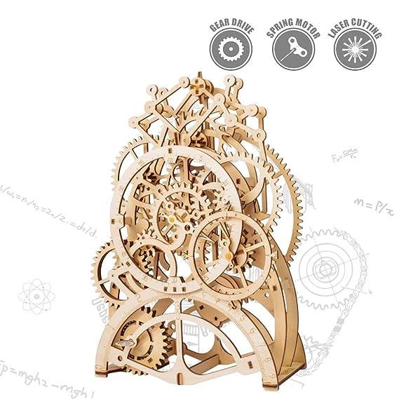 ROKR Holzzahnrad Uhr-Laser geschnitten Pendeluhr Modellbau Bausätze mechanische Holzzahnrad - 3D Holz Puzzle Denkaufgabe für