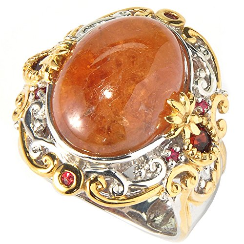 Ring Orange Cocktail (Michael Valitutti Sterling Silver Two-tone Hessonite Garnet and Orange Sapphire Cocktail Ring)