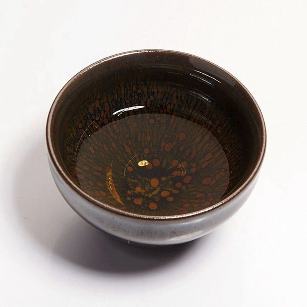 Yan Hou Tang - Earth JianZhan Tenmoku Tea Cup Bowl Cappuccinos 5 Elements Chinese FengShui Crafts Designer Collection Ceremony Ancient Style Handwork Handcrafted Oil Spot Sheaf Mouth Vitrified Surface by Yan Hou Tang (Image #4)
