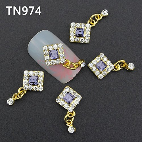 10Pcs/Pack 2016 New 3D Nail Art Alloy Jewelry Deco Luxury Square Chain Dangle DIY Glitter for UV Gel Acrylic Nail