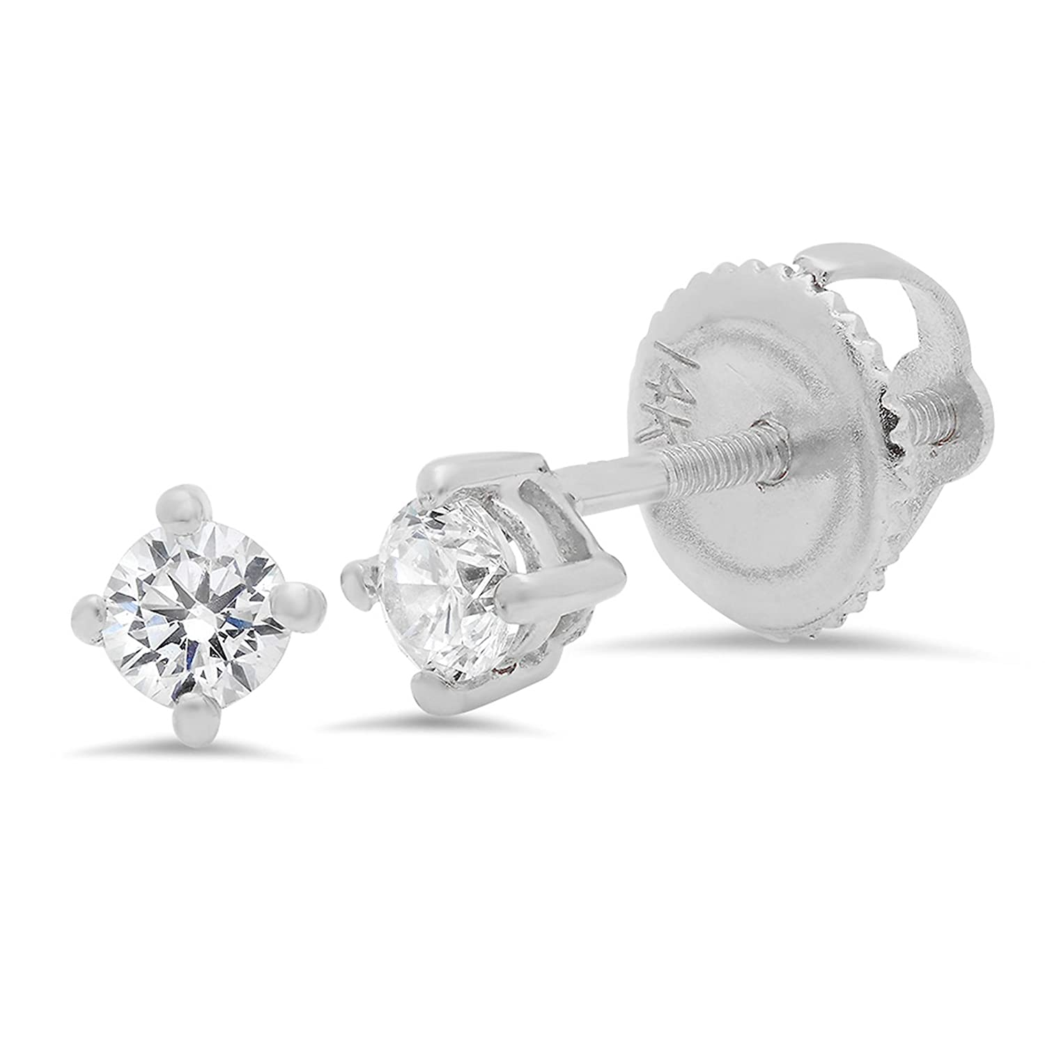 3.2 Ct Brilliant Round Cut Screw Back Earring Studs Real Solid 14k White Gold Fine Jewelry