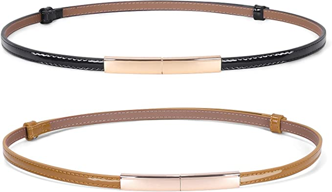 60s 33/'/'-38/'/' skinny gray and black vinyl belt for women with gold buckle