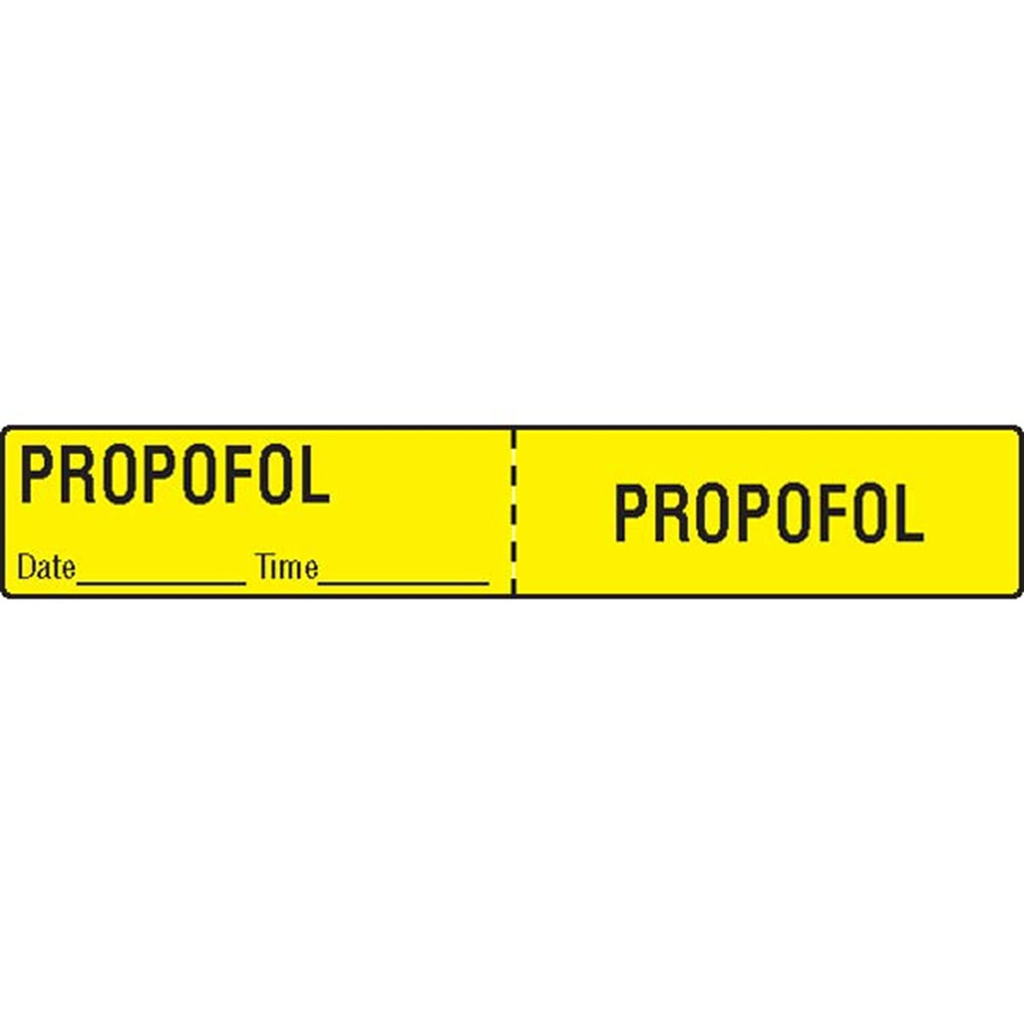 IV Tubing Medication Label Propofol