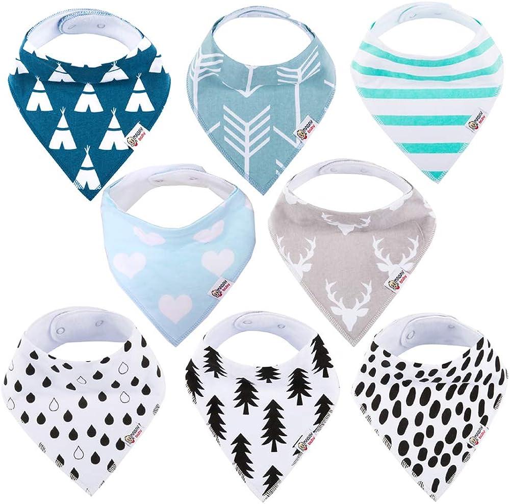 Baby Bandana Drool Bibs Organic 8 Pack for Boys and Girls 100% Cotton Bandana Baby Bibs for Teething Feeding Baby Shower Gift (BC073)